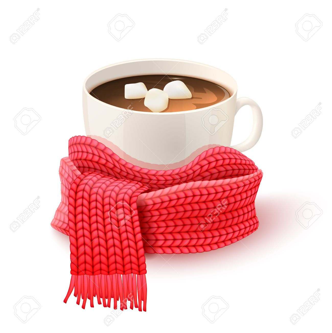 Cozy winter composition with hand knitted red scarf and white cup of hot chocolate print vector illustration - 51516885