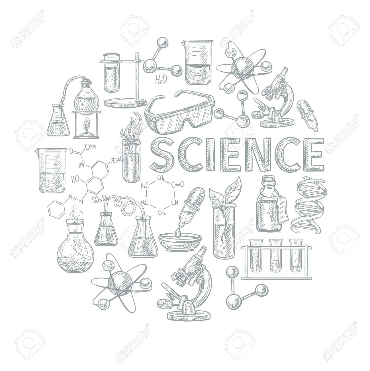 chemistry sketch concept with school learning and science symbols
