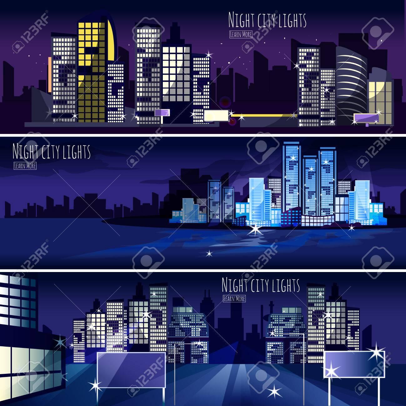 夜の街の灯夜景 3 インタラクティブな水平方向のバナー壁紙やウェブ