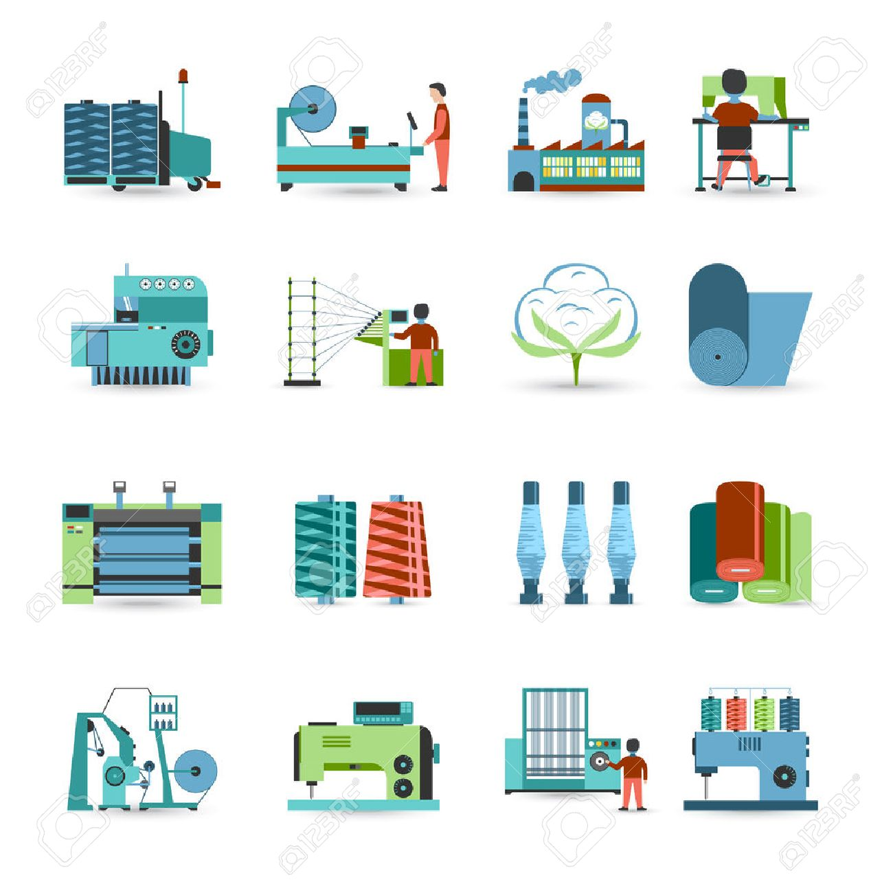 Textile manufacturing process flat icons collection with weaving yarn machinery equipment and clothes fabrication abstract isolated vector illustration - 51756578