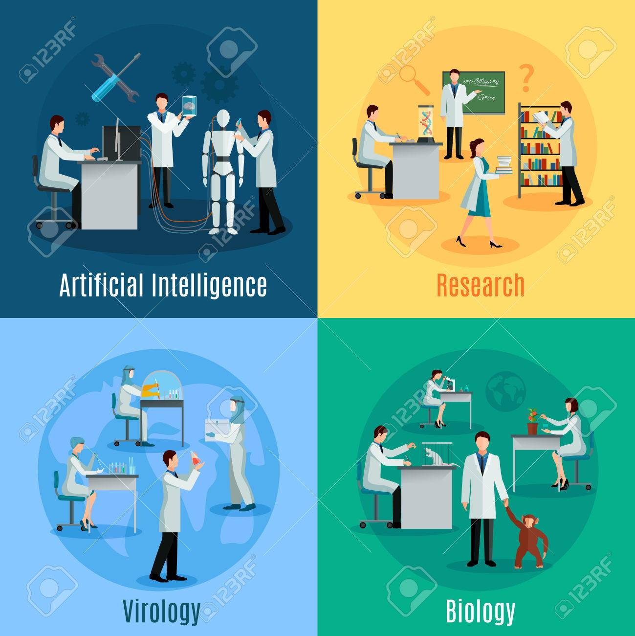 Scientists 2x2 design concept set with researchers in field of biology virology and artificial intelligence flat vector illustration - 51756688