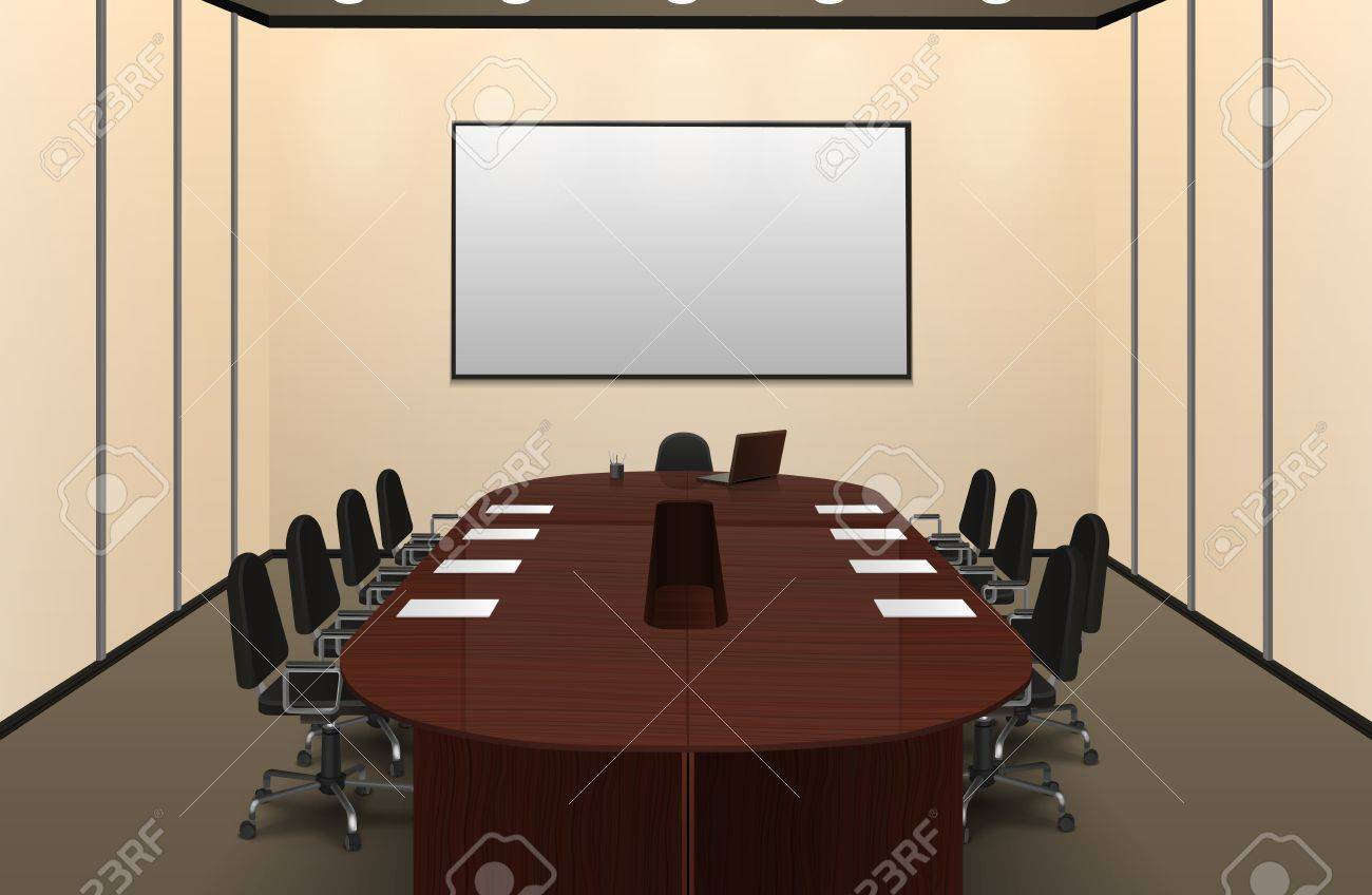 Conference Room Interior With Big Table And Screen Realistic - Big conference table