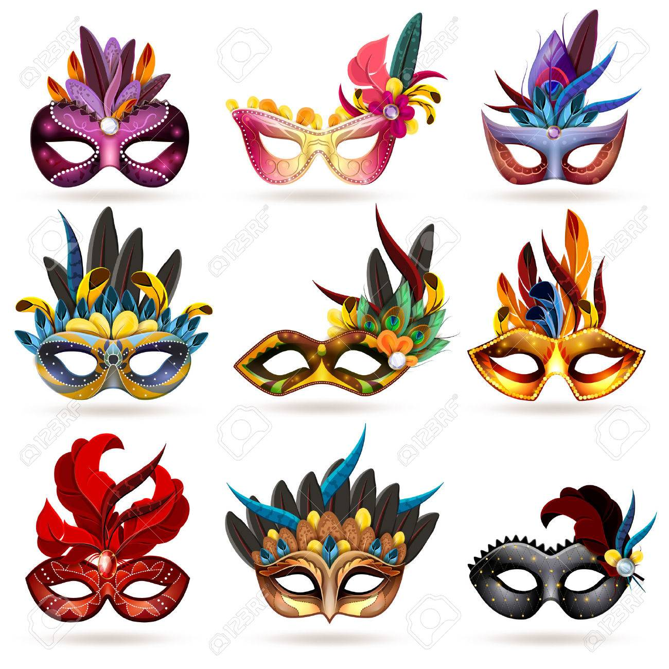 Mask realistic icons set with feathers and jewels isolated vector illustration - 51757197