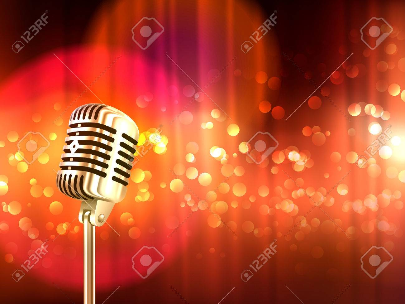 Old fashioned retro big metallic microphone against blurred red light spots background vintage poster abstract vector illustration Stock Vector - 51757289