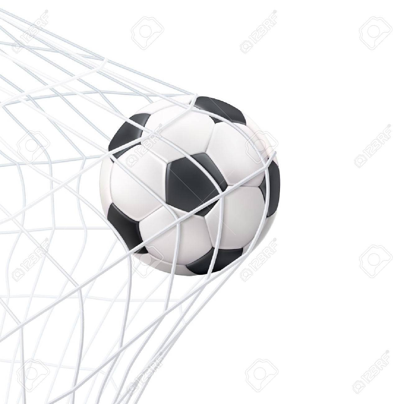 Soccer game match goal moment with ball in the net black white picture vector illustration Stock Vector - 51757292