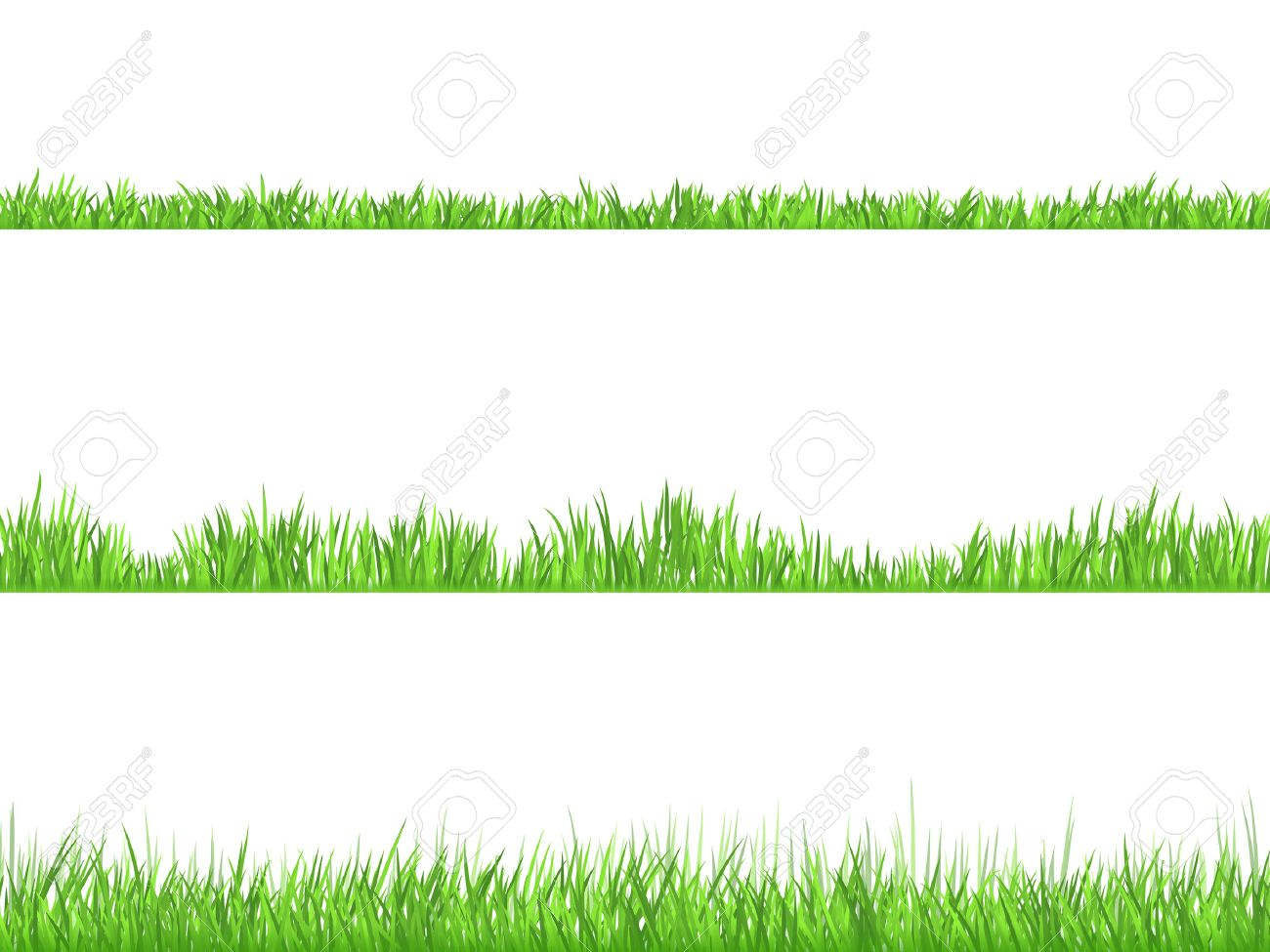 Best looking lawn 3 ideal grass heights for mowing flat horizontal banners set abstract isolated  vector illustration Stock Vector - 51757320