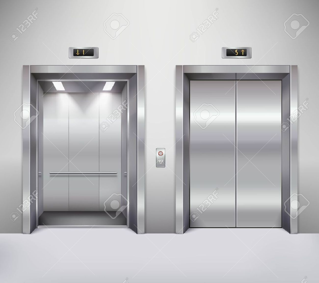 Open and closed chrome metal office building elevator doors realistic vector illustration - 51757439
