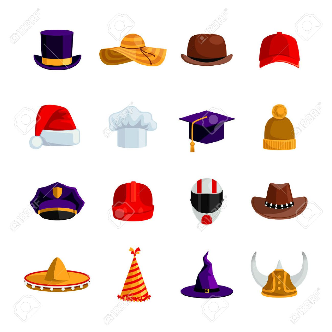 Hats and caps flat color icons set of sombrero bowler square academic hat baseball cap straw hat santa claus and clown caps isolated vector illustration Stock Vector - 51757451