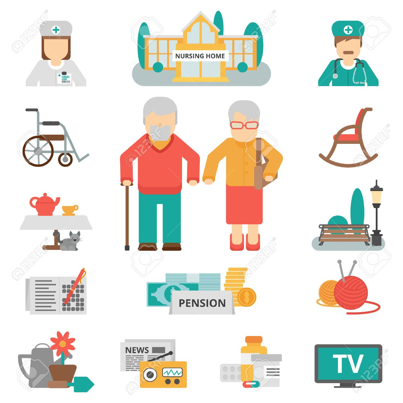 Senior lifestyle flat color icons set with elderly family couple nursing home and items for leisure activities isolated vector illustration Stock Vector - 51757538