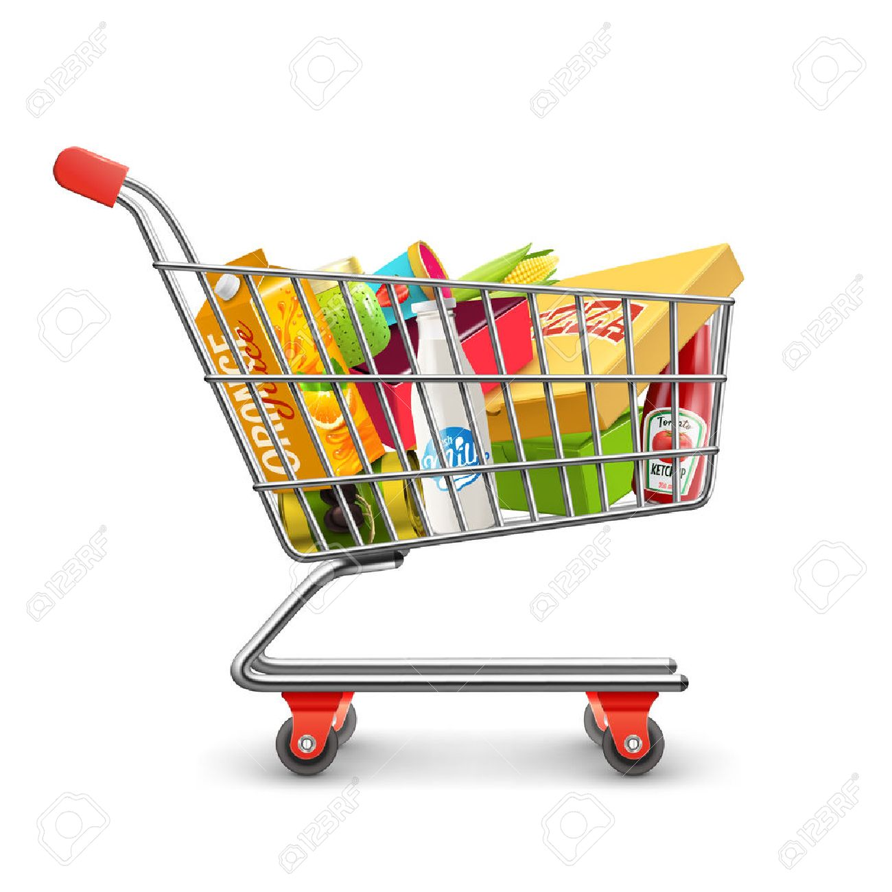 Self-service supermarket full shopping trolley cart with fresh grocery products and red handle realistic vector illustration Stock Vector - 52694854