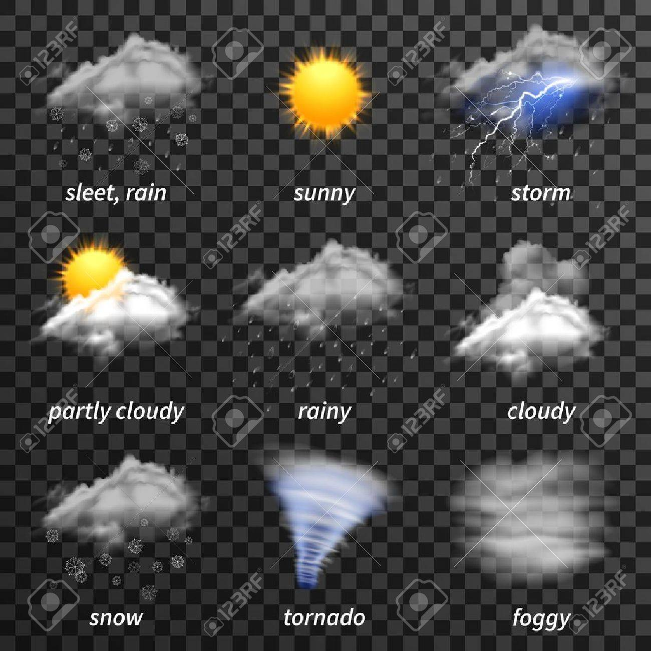 Realistic weather icons set isolated on transparent background vector illustration - 52694907