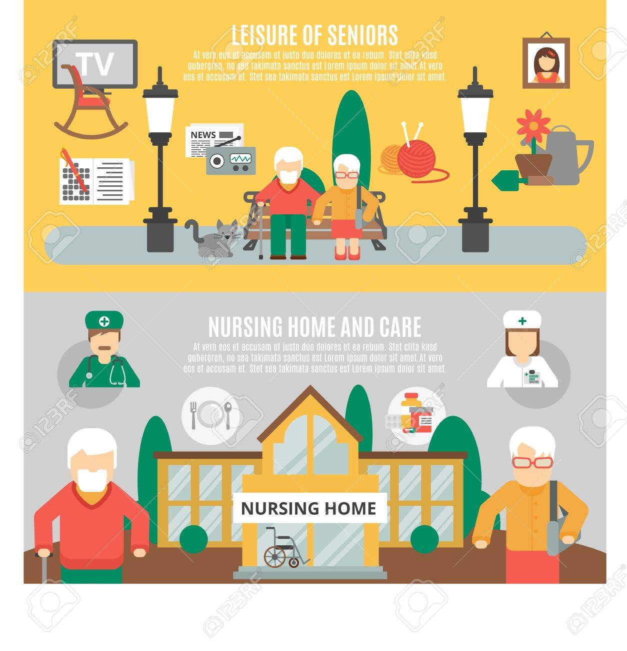 Horizontal flat banners presenting leisure of seniors and nursing home and care vector illustration - 52695115