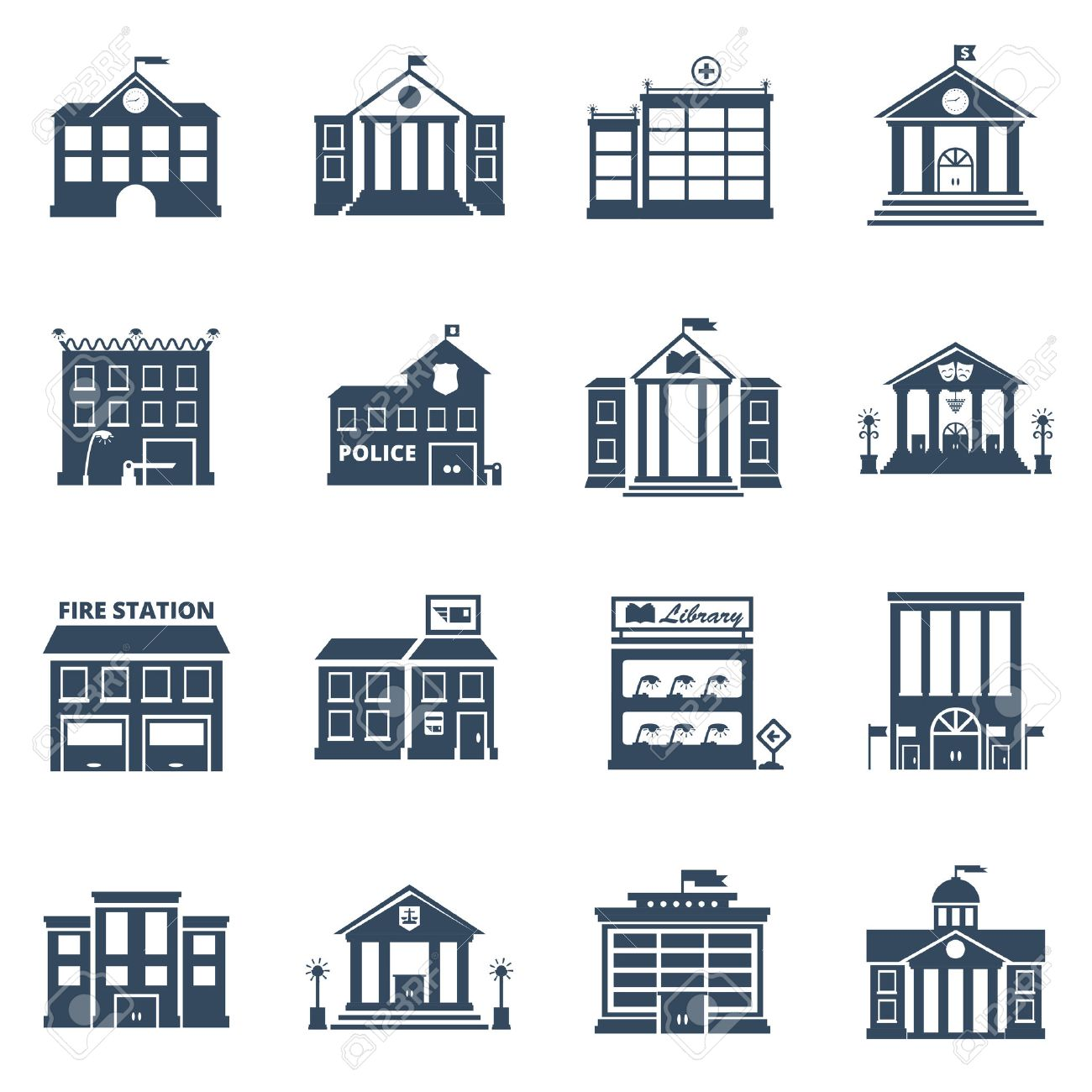 Government building black icons set of fire station library prison post office isolated vector illustration - 52695273