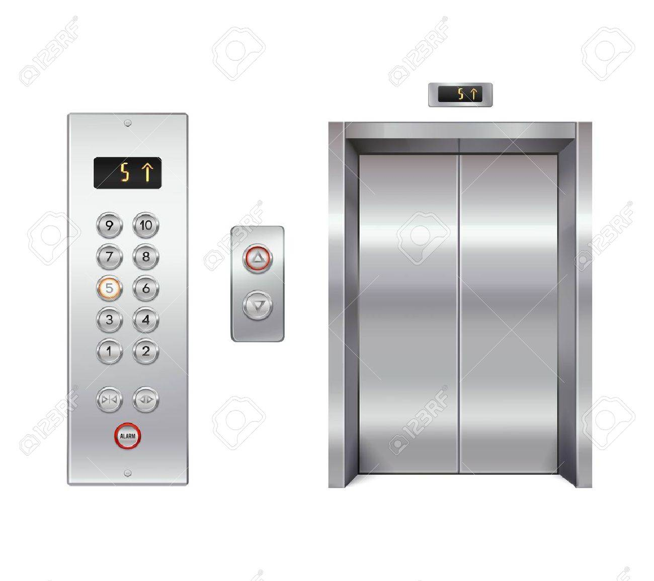 Elevator design set with closed doors and button panel isolated vector illustration Stock Vector - 52695270