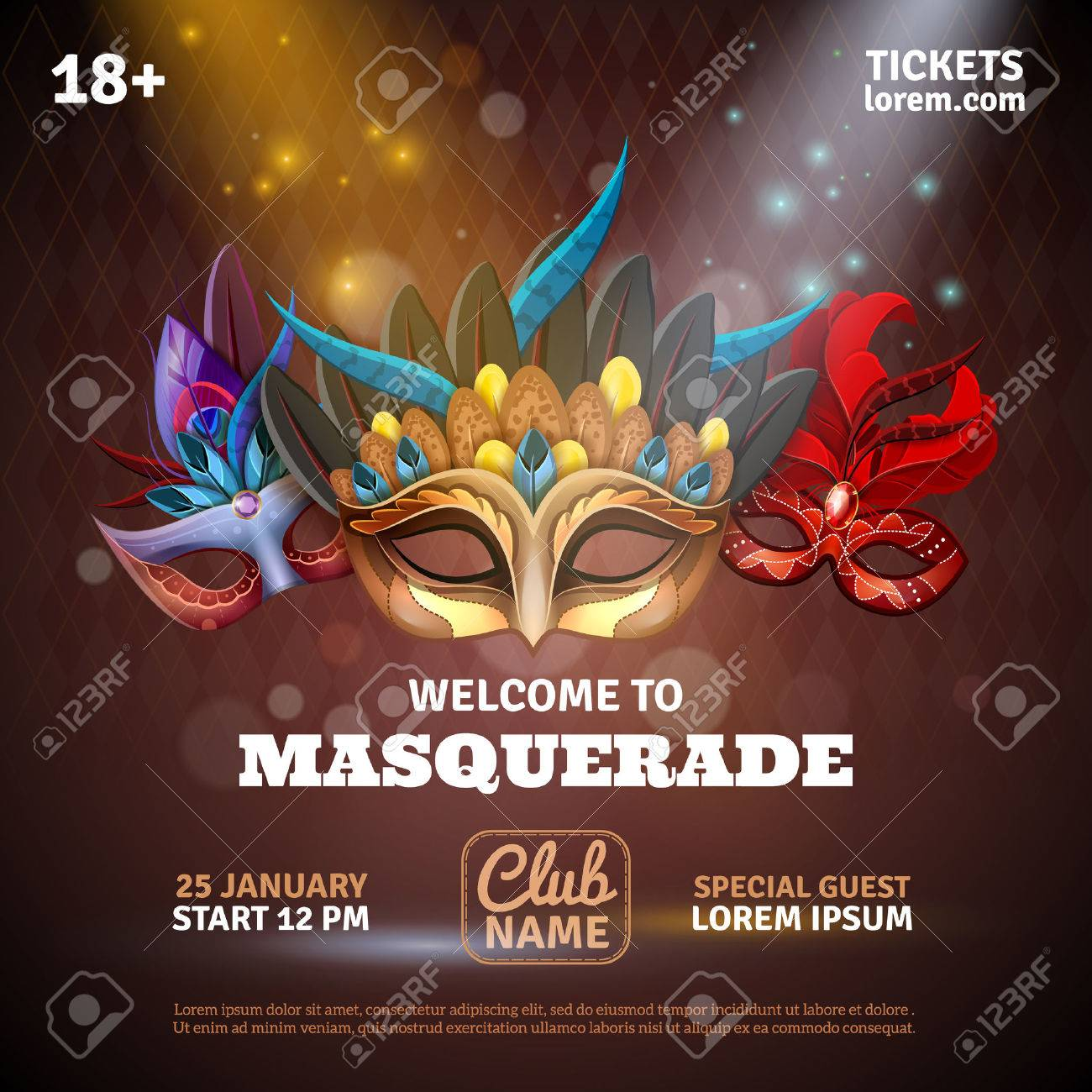 Masquerade realistic poster with party tickets and club symbols vector illustration Stock Vector - 52695275