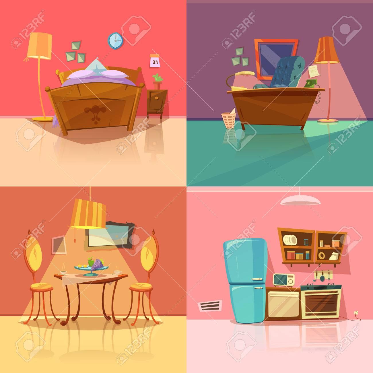 Interior retro conjunto con dormitorio comedor oficina y cocina dibujos  animados aislado ilustración vectorial