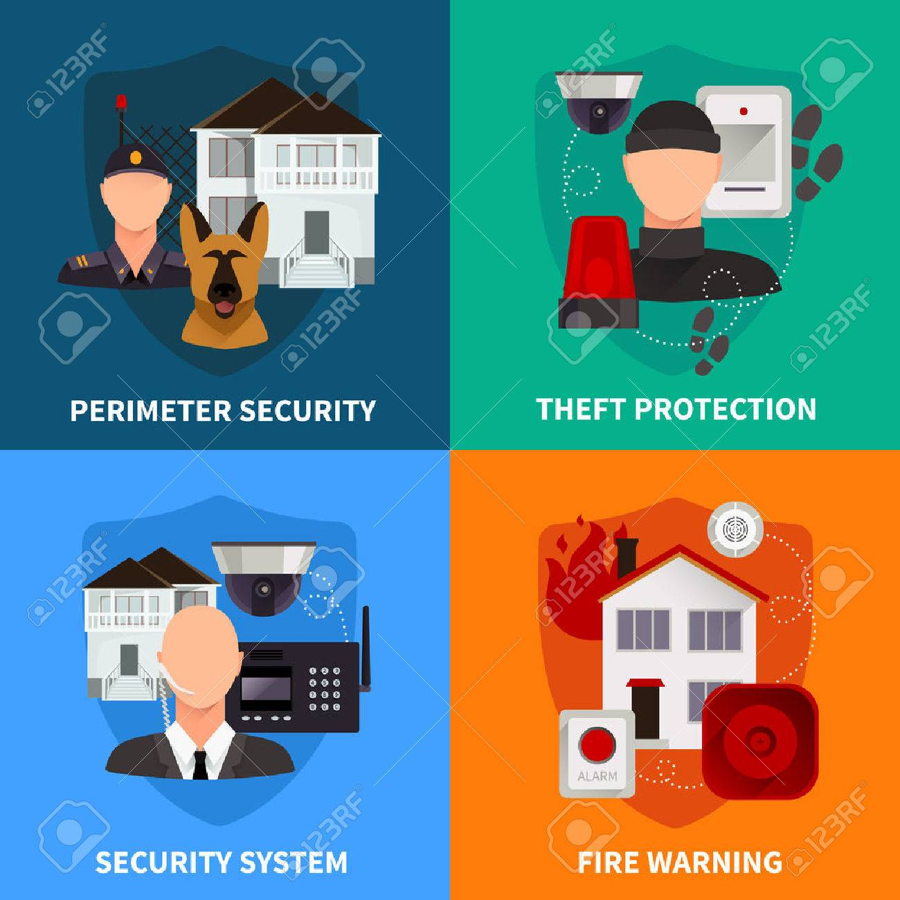 Home Security 2x2 Flat Design Concept Set Of Theft Protection Fire Warning  And Electronic Alarm Systems