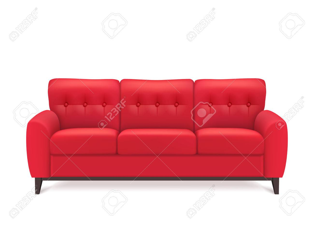 Red leather luxury sofa for modern living room reception or lounge single object realistic design vector illustration - 52695504