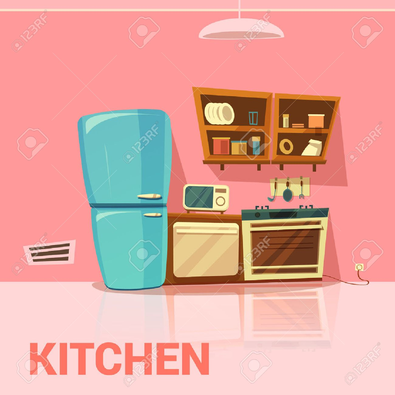 Kitchen retro design with fridge microwave oven and cooker cartoon vector illustration - 52695573