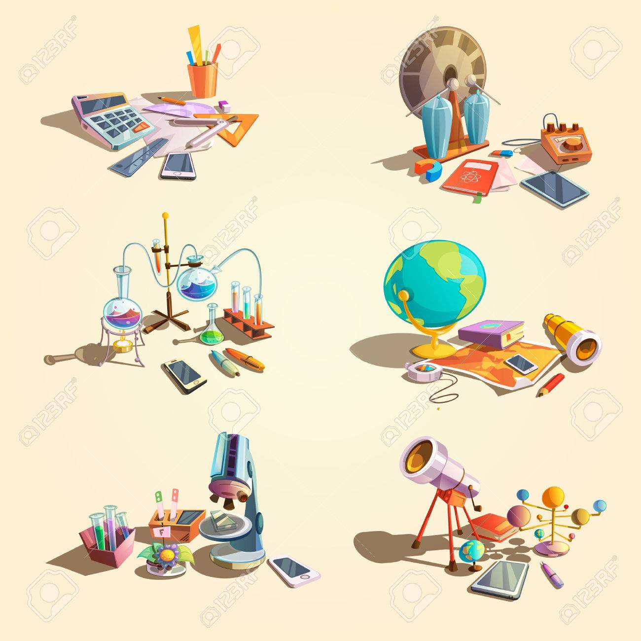 Science retro concept set with cartoon education objects isolated vector illustration - 52696002
