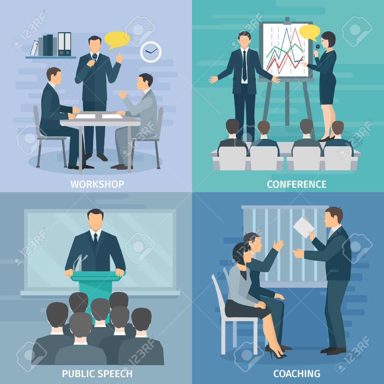 Public speaking skills coaching workshop presentation and conference 4 flat icons composition square abstract isolated illustration vector Stock Vector - 52696342