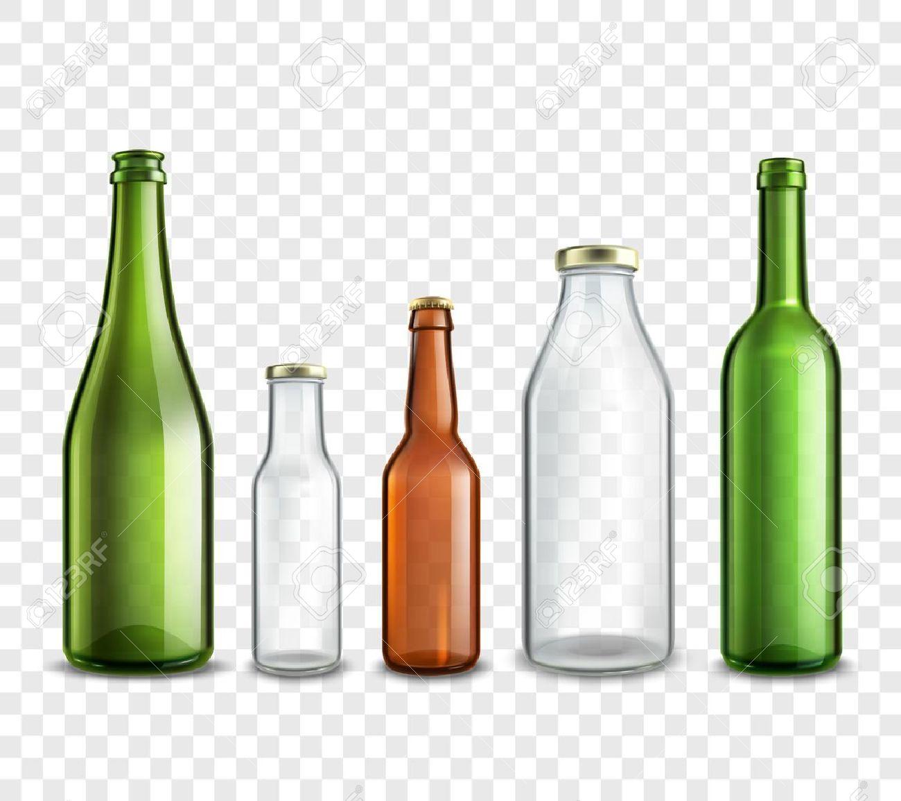 Las Botellas De Vidrio Realista 3d Conjunto Aislado En La