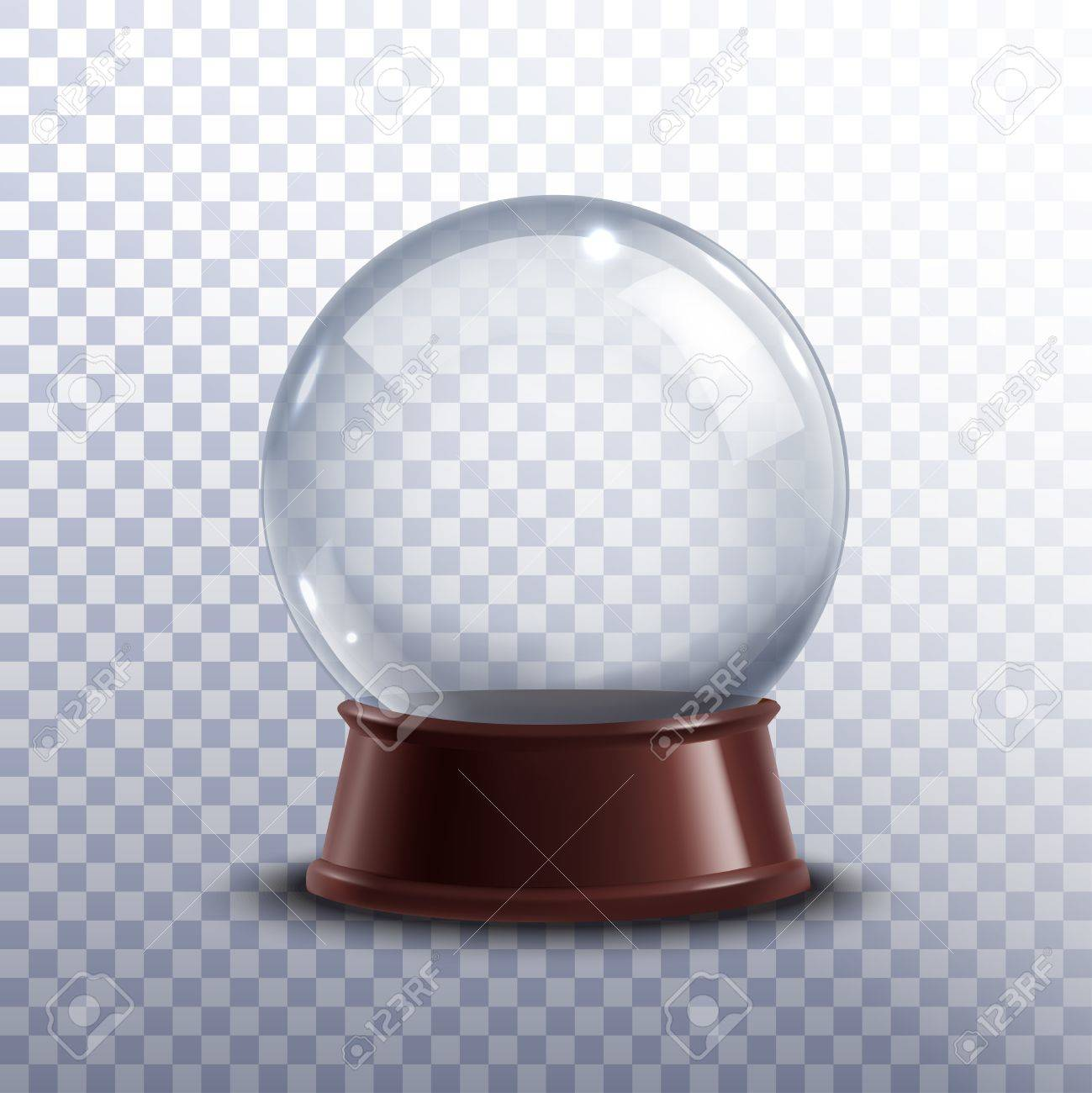 Realisitc 3d snow globe toy isolated on transparent background vector illustration - 52696353