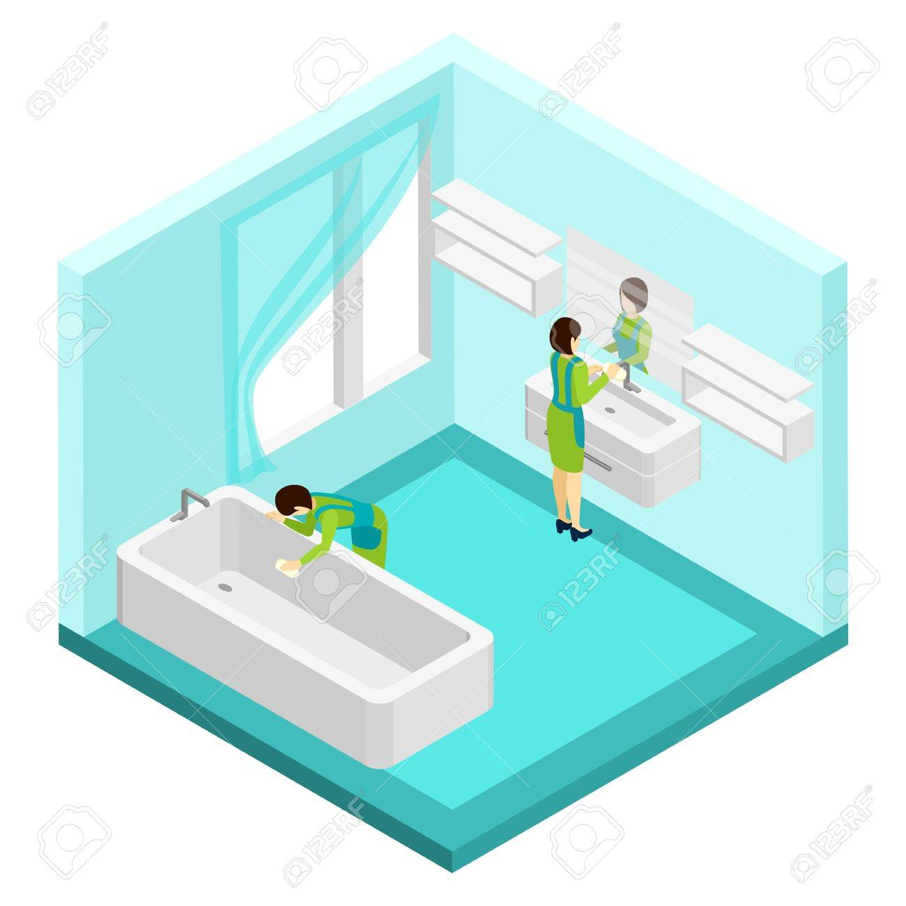 Bathroom mirror clip art - People Cleaning Bathroom With Mirror Window And Bath Isometric Vector Illustration Stock Vector 52697939