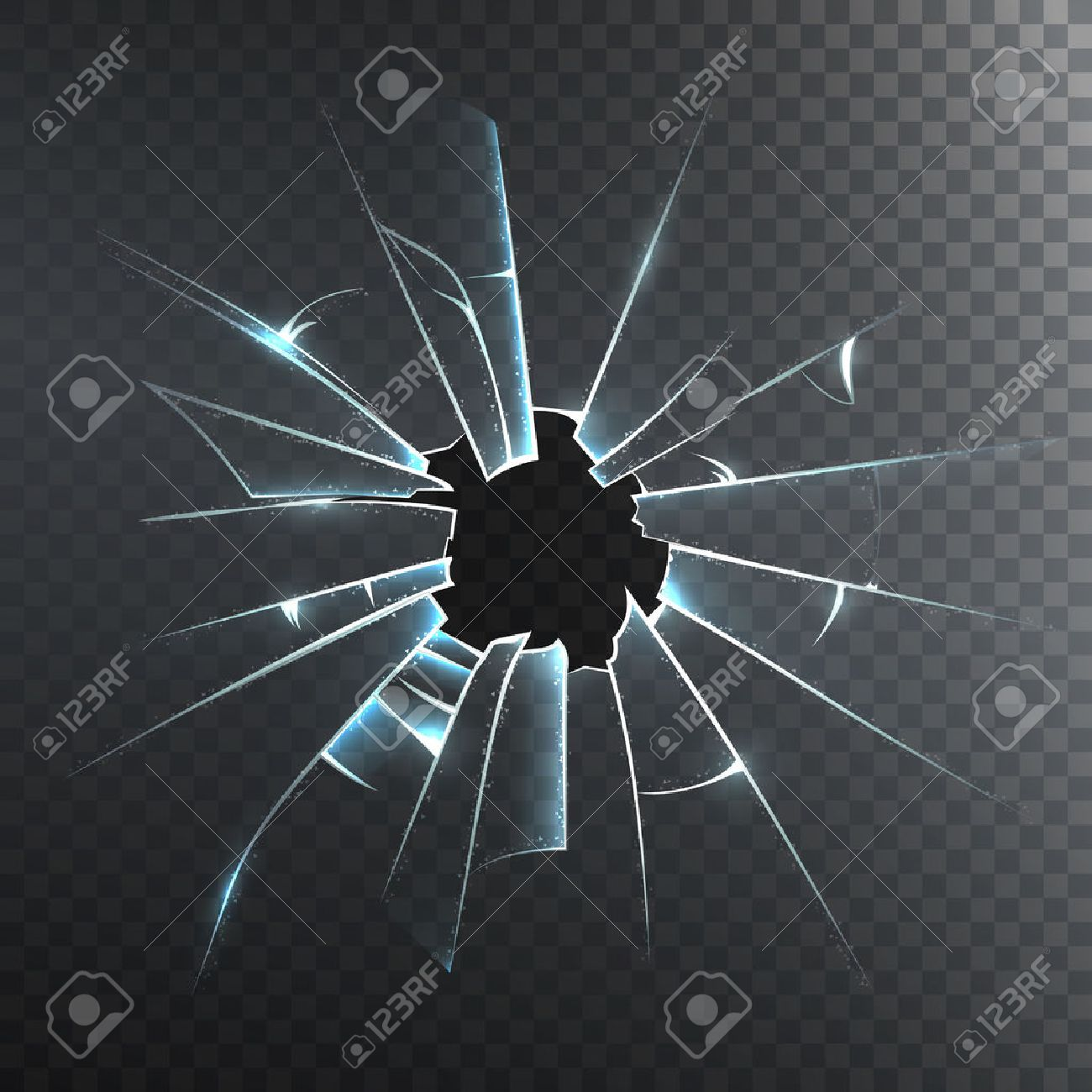 Accidentally broken frosted window pane or front door glass realistic decorative dark background icon vector illustration Stock Vector - 52698103