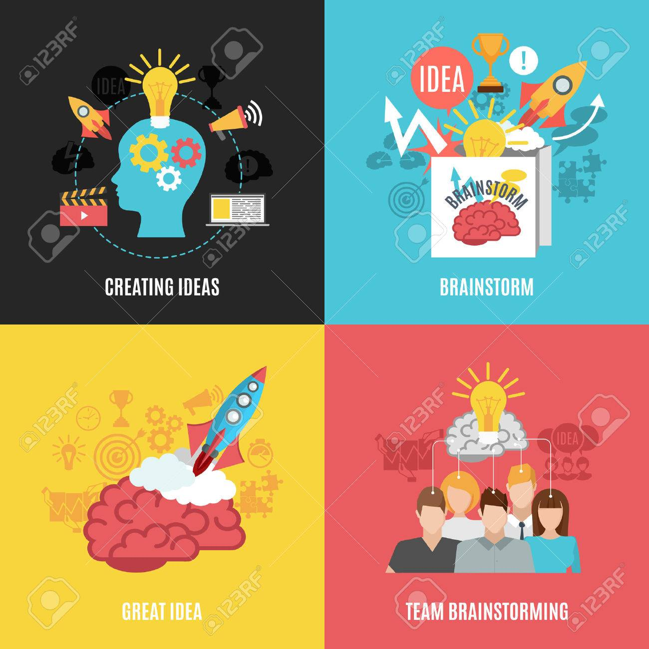 Flat 2x2 abstract compositions presenting creating ideas great idea brainstorm and team brainstorming vector illustration - 52698104