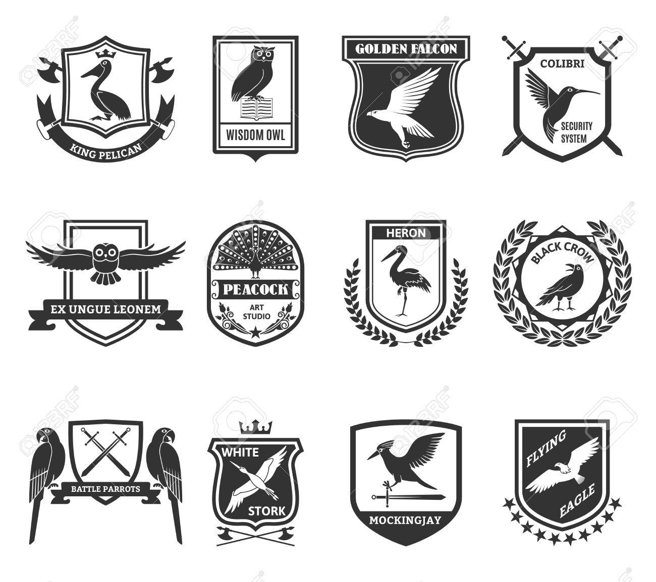 Birds black emblems collection with colibri hummingbird security birds black emblems collection with colibri hummingbird security system shield and golden falcon label abstract isolated biocorpaavc Images