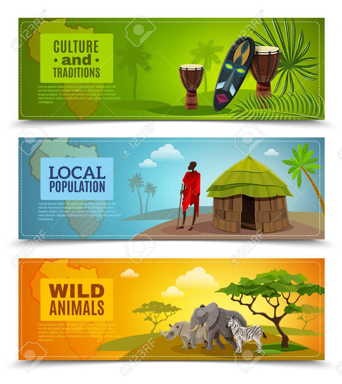 Africa Horizontal Cartoon Banners Set With Culture And Traditions
