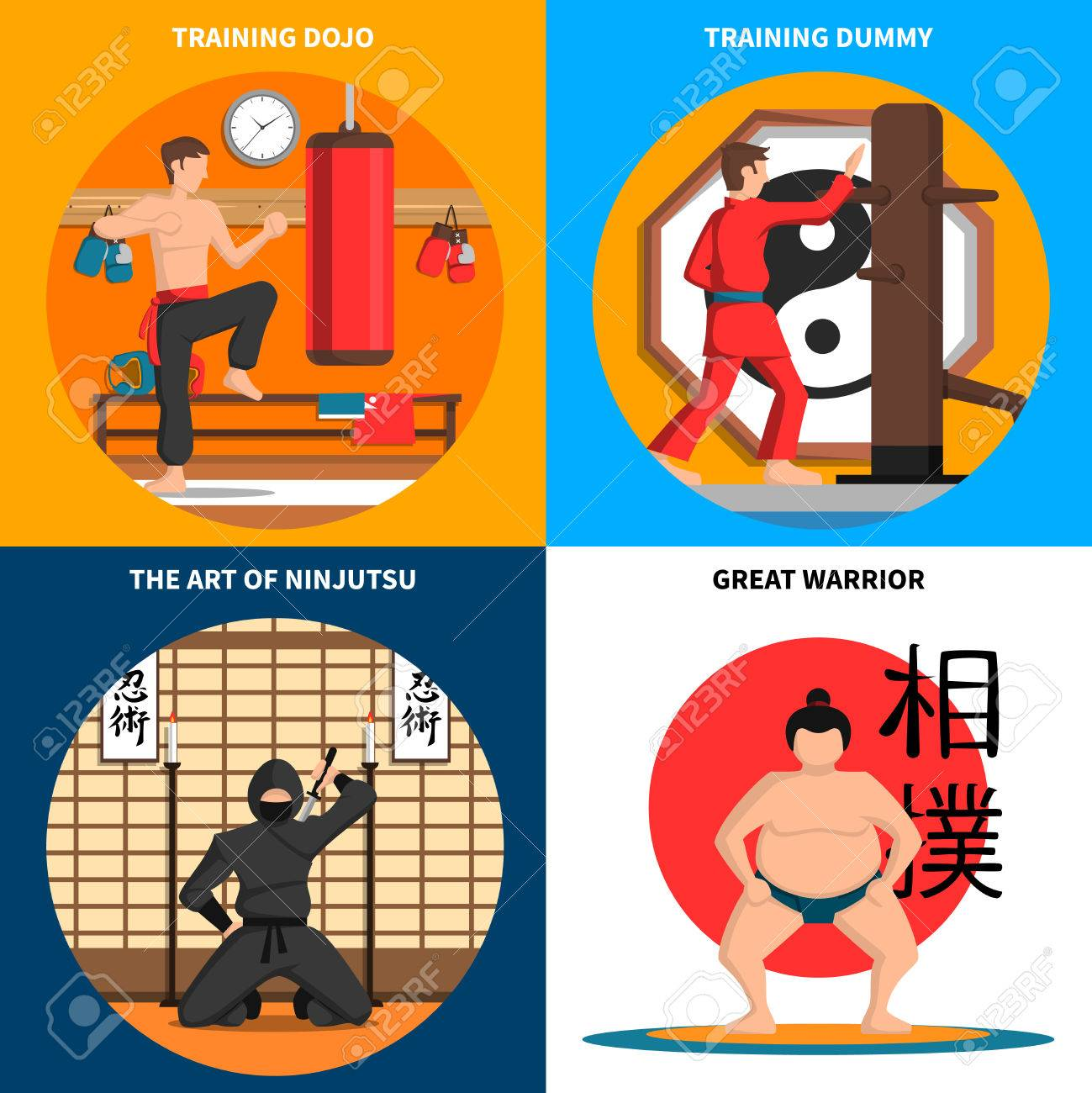 Martial Arts Concept Icons Set With Training And Art Of Ninjutsu