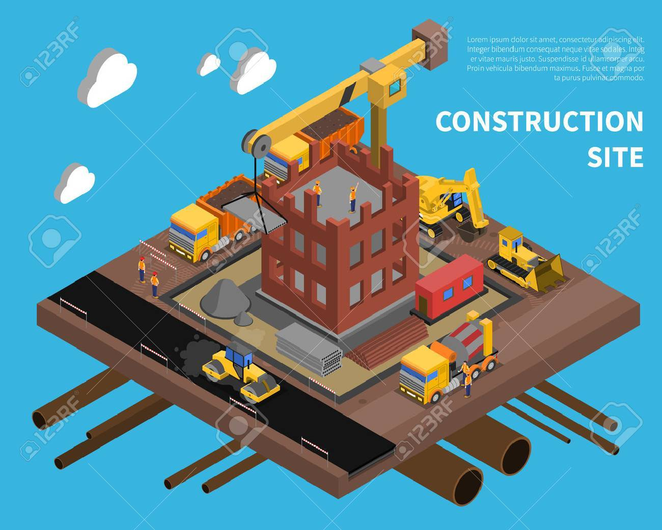 Construction site with building block of flats symbols on blue background isometric vector illustration - 52698402