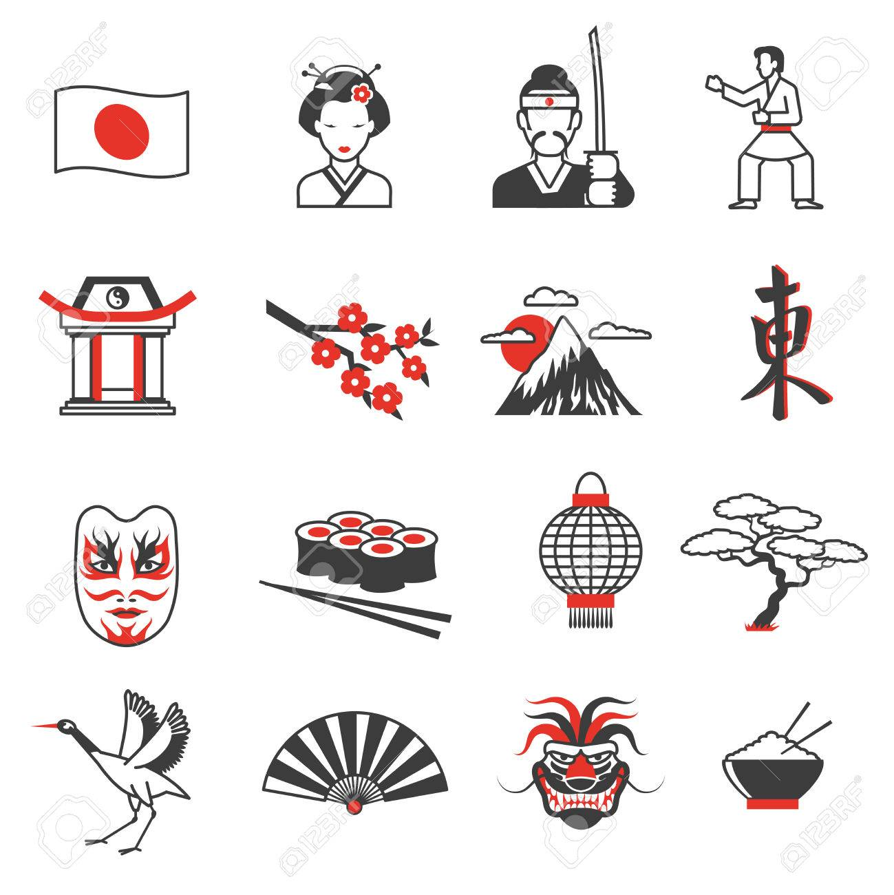 Japan red black icons set with culture and traditions symbols japan red black icons set with culture and traditions symbols flat isolated vector illustration stock vector biocorpaavc Image collections