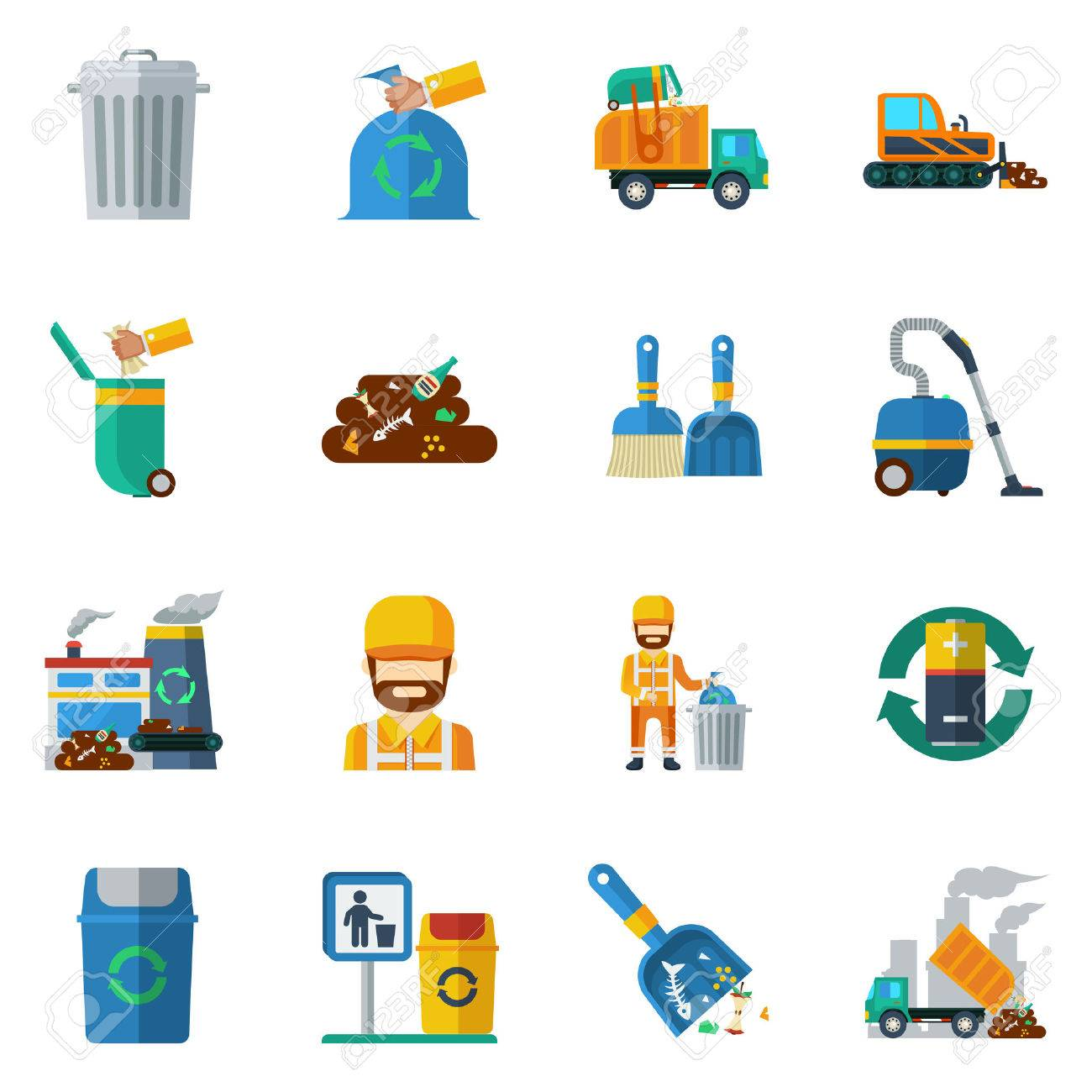 Garbage recycling flat color icons set of dump truck garbage can processing plant isolated vector illustration - 52699069
