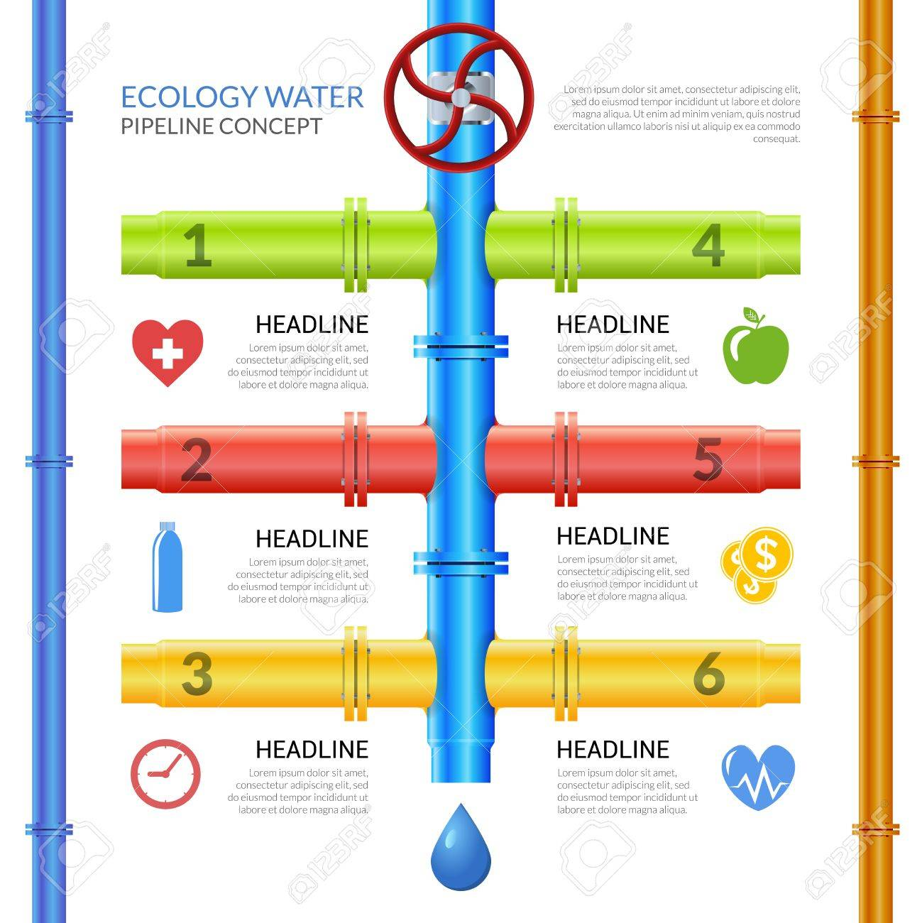 Infographic design template on theme ecology water pipeline with infographic design template on theme ecology water pipeline with pipes valve and technological information vector illustration buycottarizona Choice Image