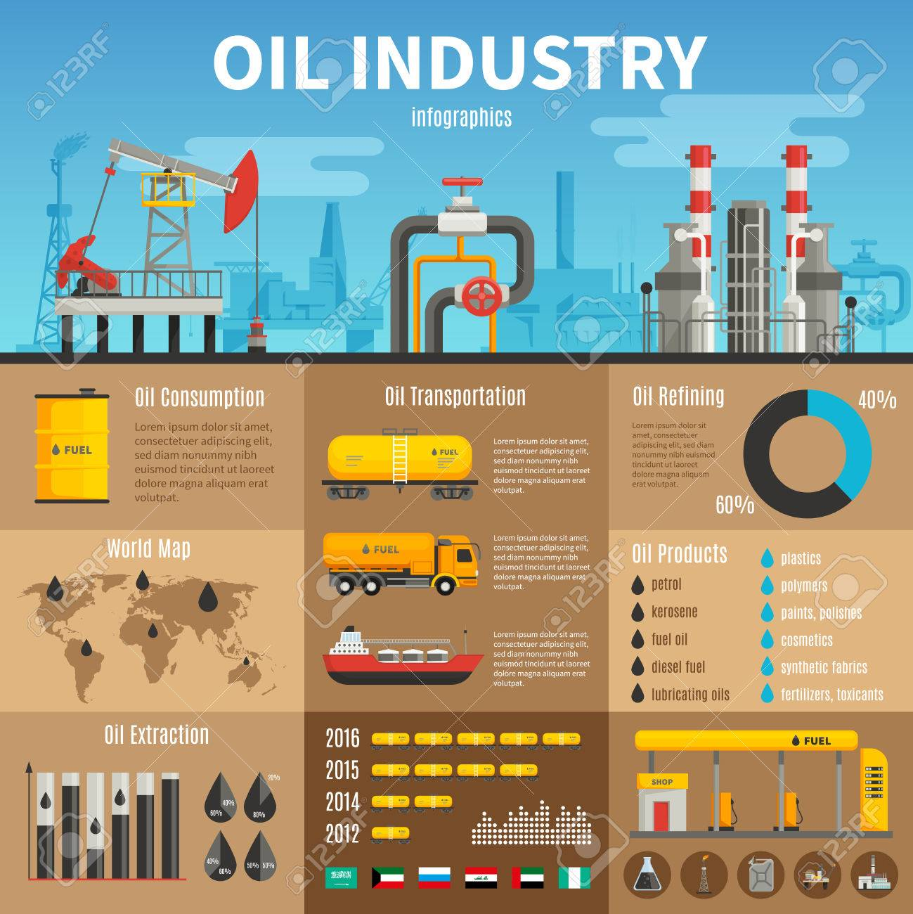 Oil industry vector infographics with extraction transportation and consumption statistics products of refining information and petrol station illustration Stock Vector - 53864035
