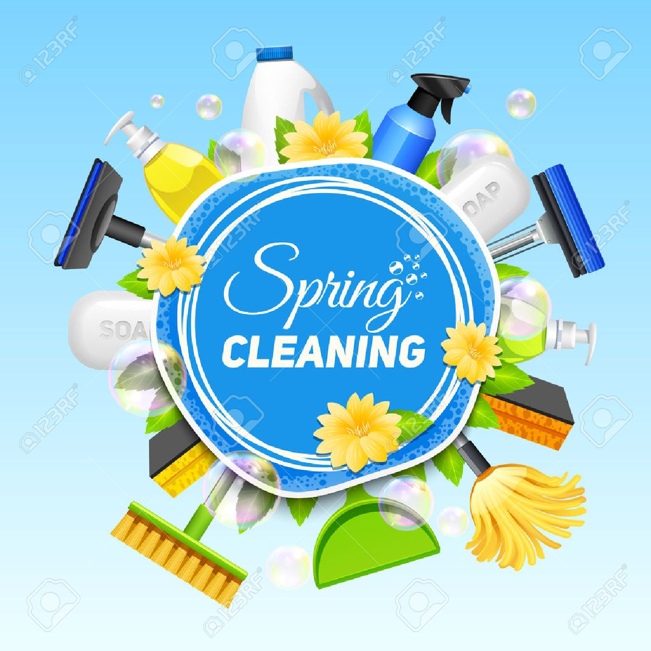 Poster with composition of different tools for cleaning service colored on blue background vector illustration Stock Vector - 53864056
