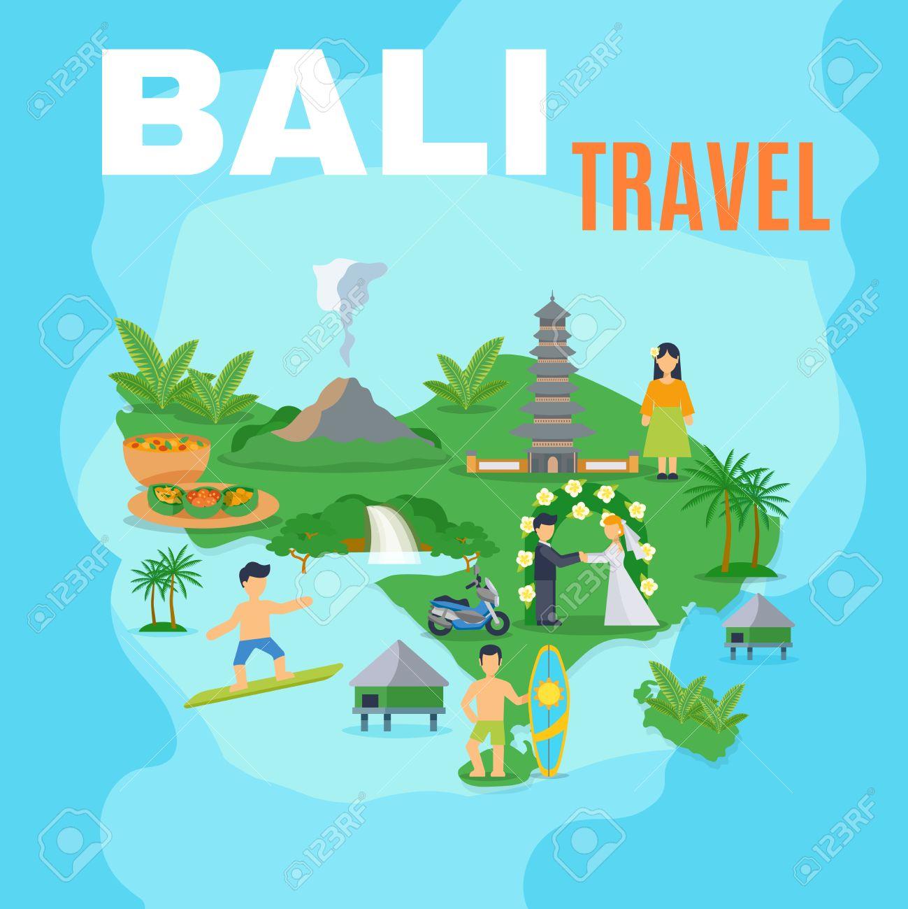 Carte Bali Mer.Fond De Carte Bali Voyage Ile Verte Sur La Mer Bleue Avec Des Photos De Lieux Touristiques Illustration Vectorielle