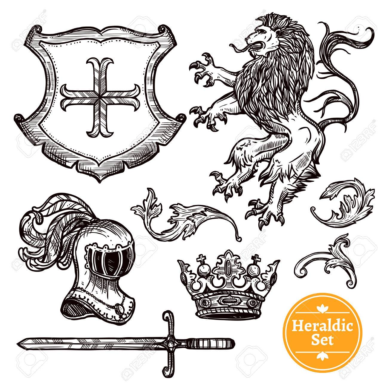 Coat Of Arms Symbols Black Icons Set With Heraldic Animals And