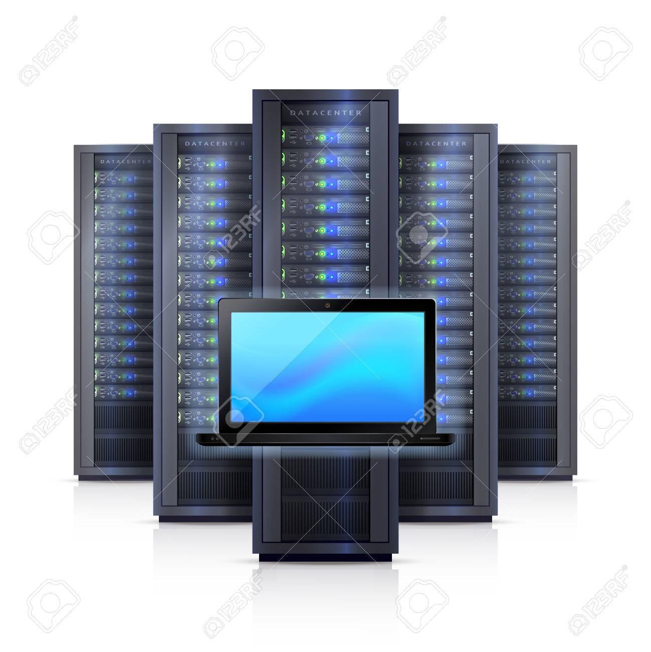 Computer-Hardware-Systemelemente Mit Schwarzen Server-Racks Rahmen ...