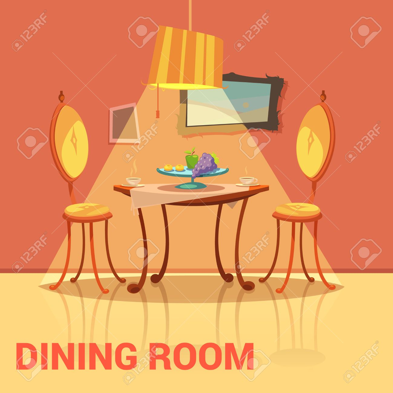 Dining Room Retro Design With Table Chairs And Picture Cartoon