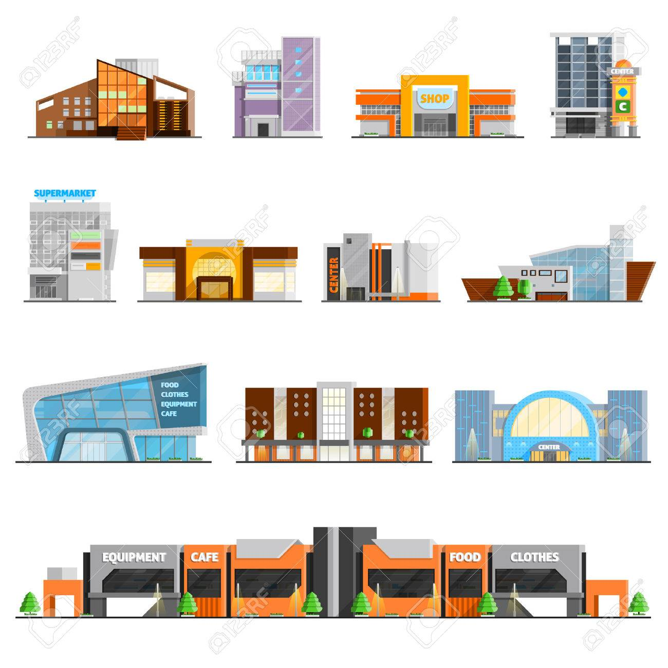 Shopping mall building orthogonal icons set with cafe and clothes symbols flat isolated vector illustration - 53875135