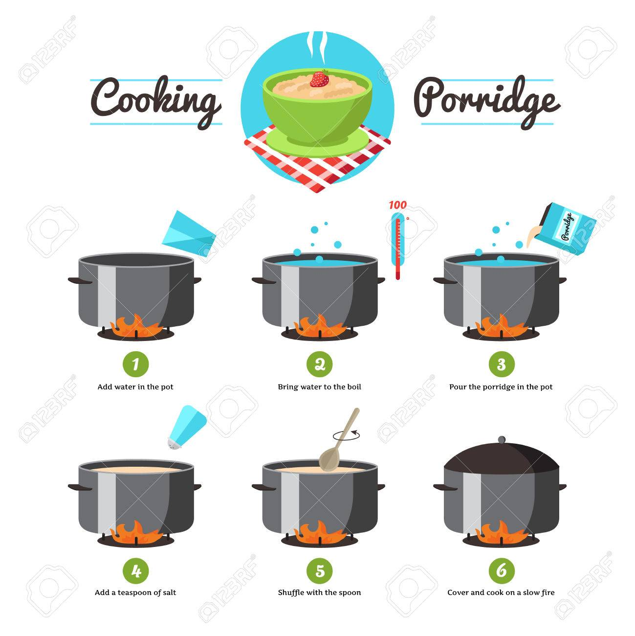 Step By Step Set Icons Instruction For The Preparation Of Cooking