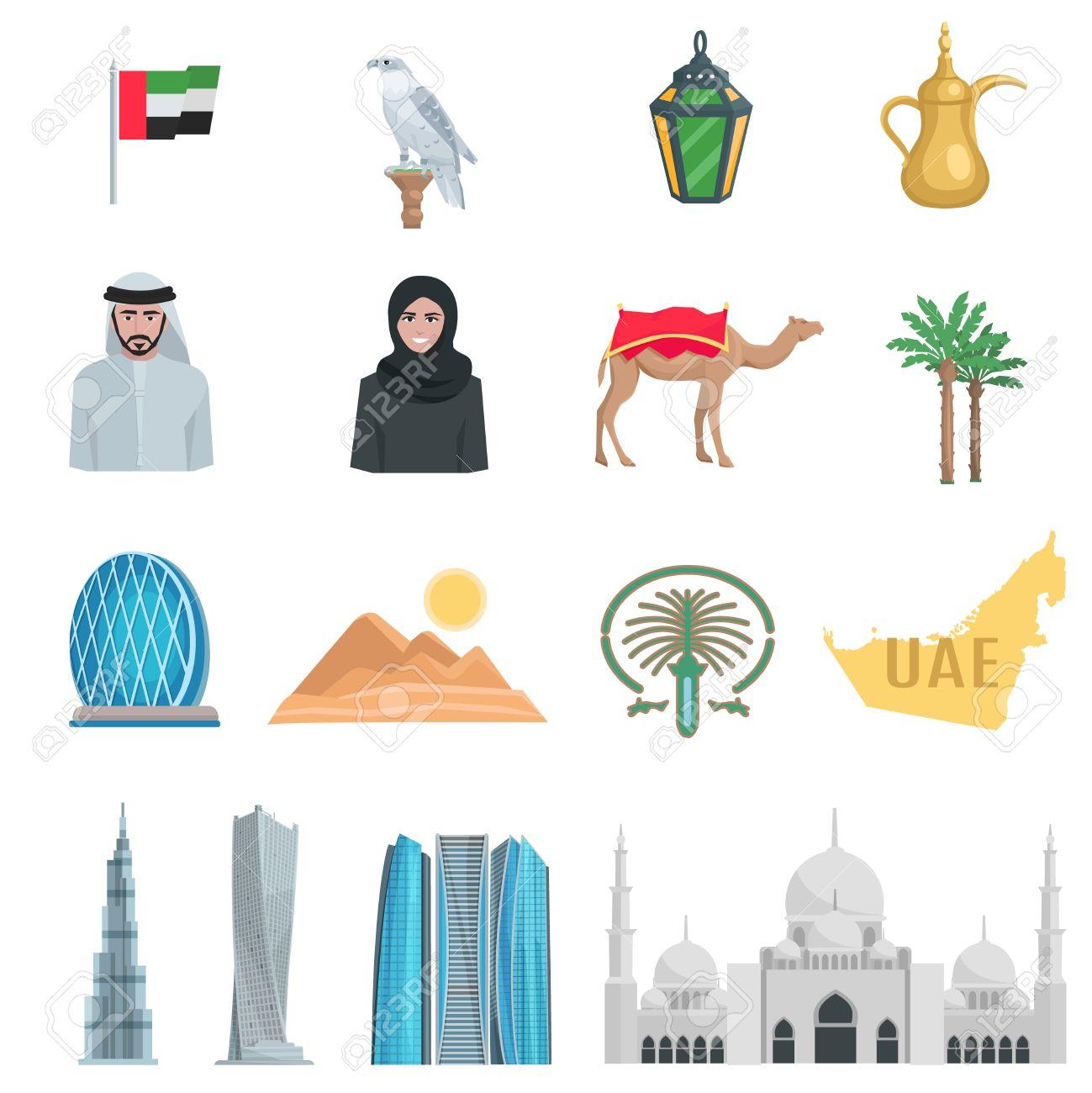 United arab emirates flat icons with symbols of state and cultural united arab emirates flat icons with symbols of state and cultural objects isolated vector illustration stock biocorpaavc Images