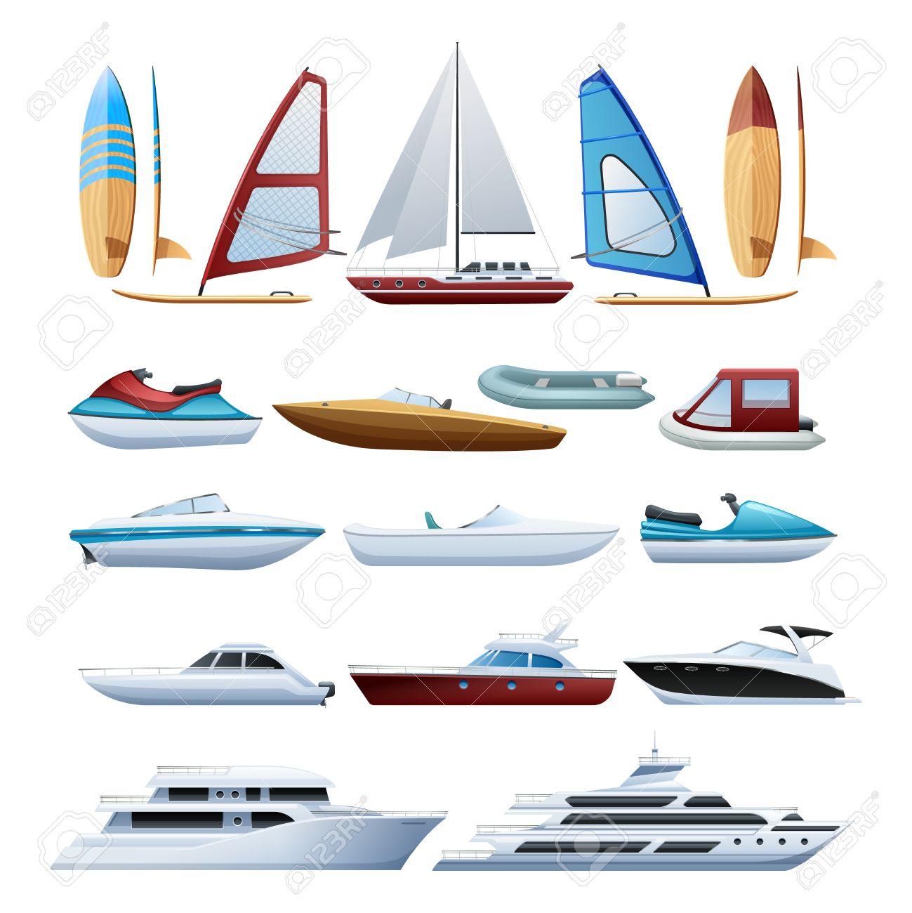 motor boats catamaran windsurfer and sailboat various types of