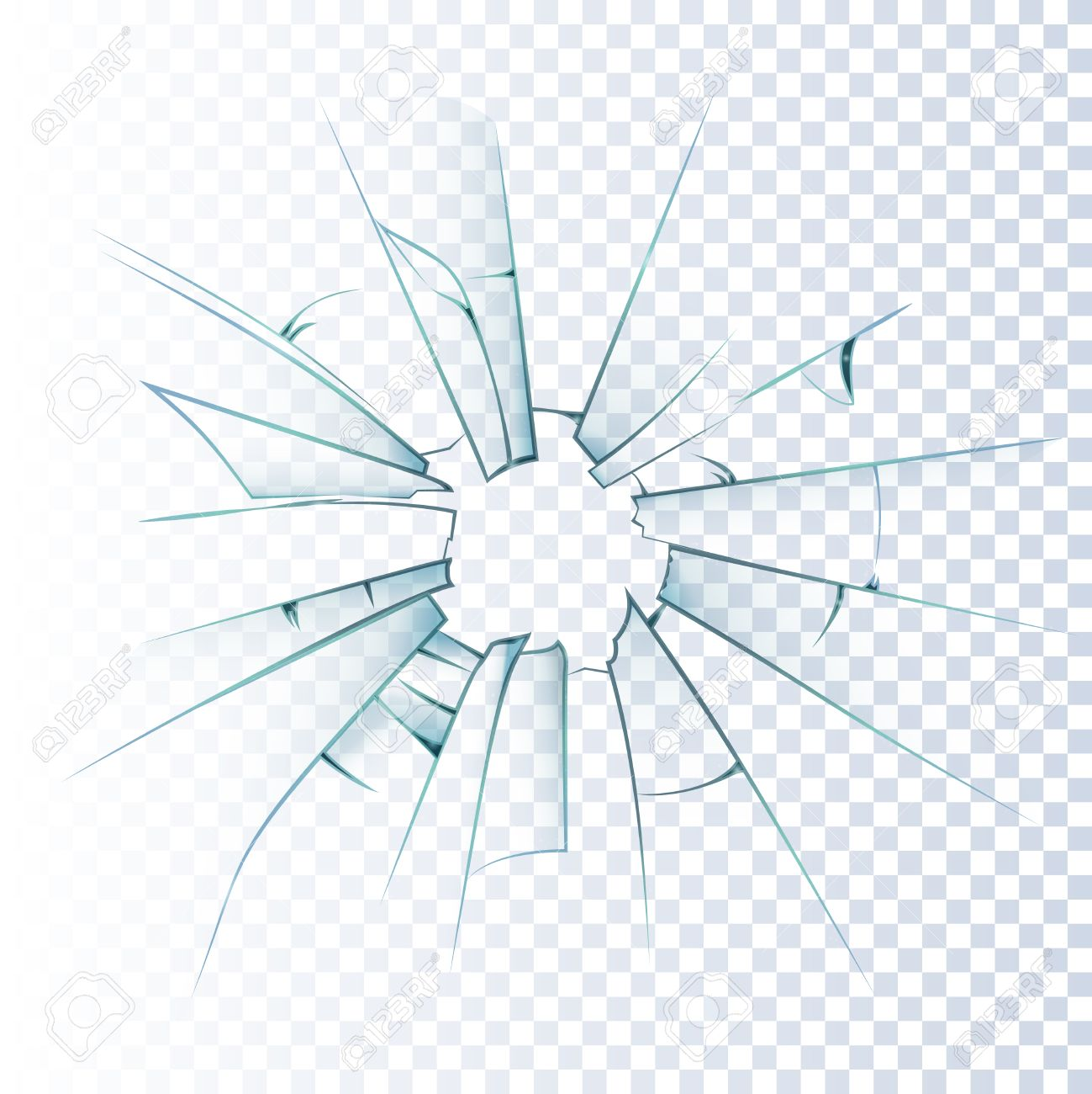 Broken frosted window pane or front door glass background decorative realistic daylight design vector illustration - 53875443