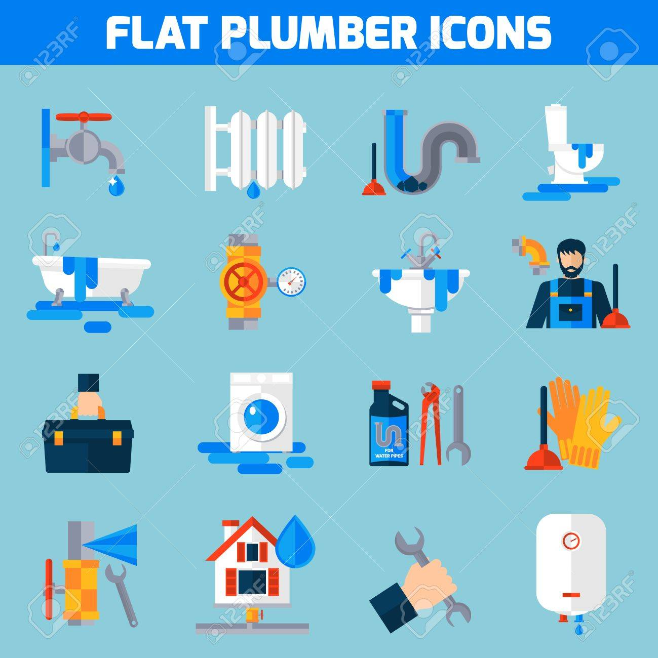 Plumbing Service Flat Icons Set With Toilet Bathtub And Sink ...