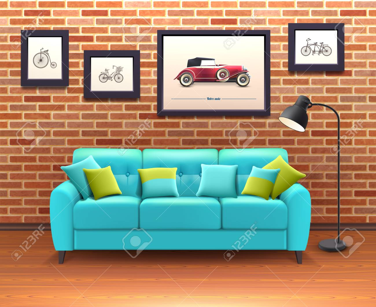 vibrant turquoise sofa with decorative pillows brings color in